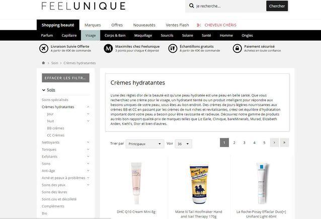 Site de maquillage et de conseil : Feelunique