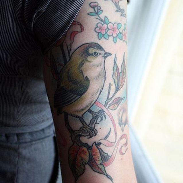 Tatouage bras oiseau