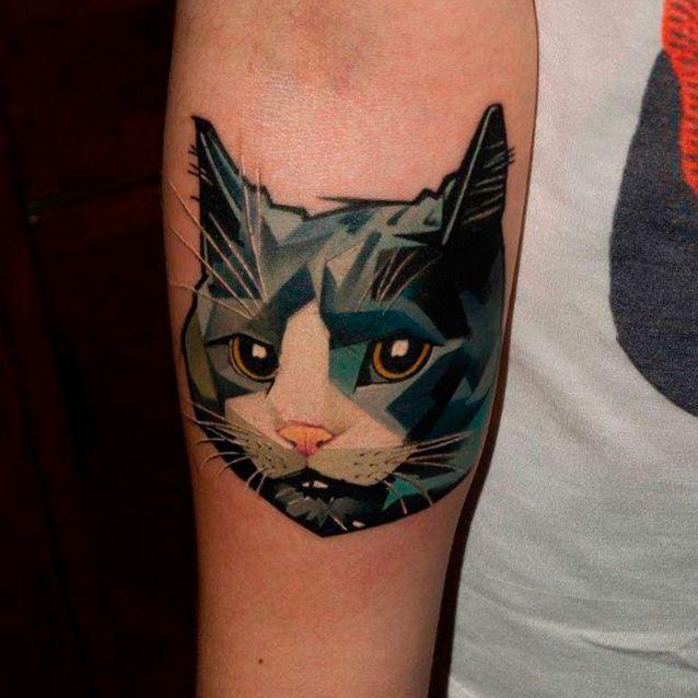Tatouage chat couleur