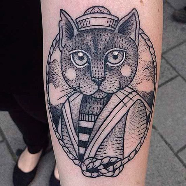 Tatouage chat portrait