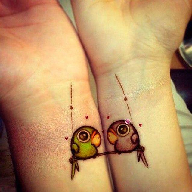 Tatouage couple oiseau