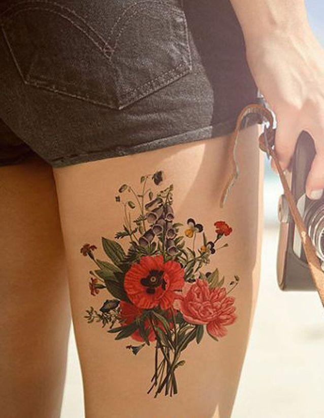 Tatouage Cuisse Fleur 15 Tatouages Sur La Cuisse Qui Nous