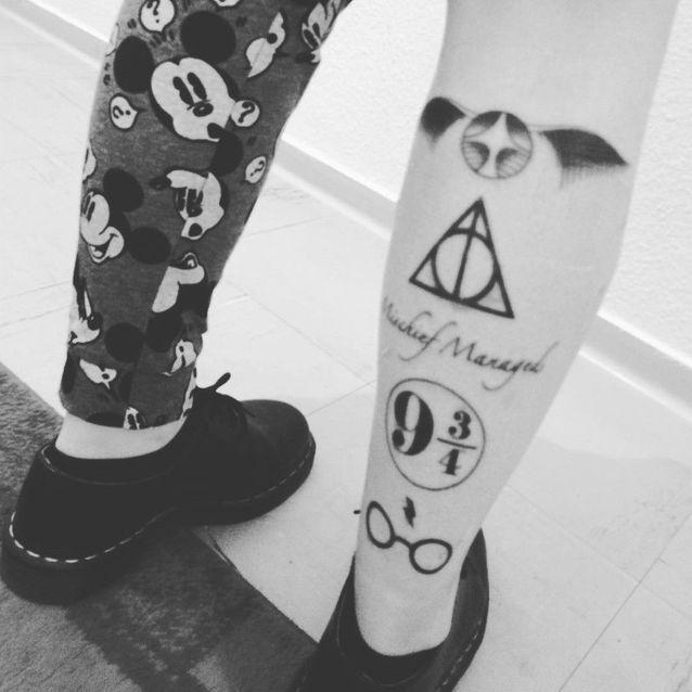 Tatouage Harry Potter mollet