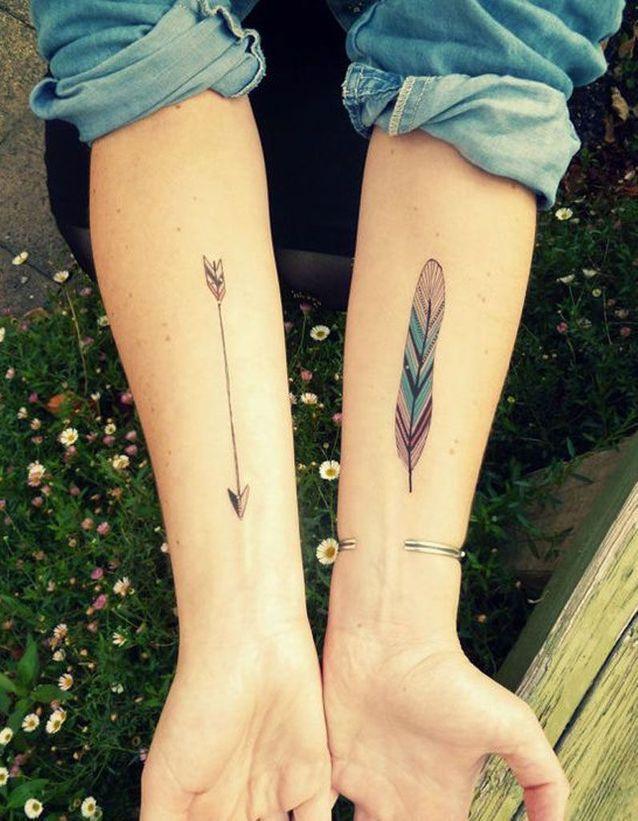 Tatouage plume avant bras