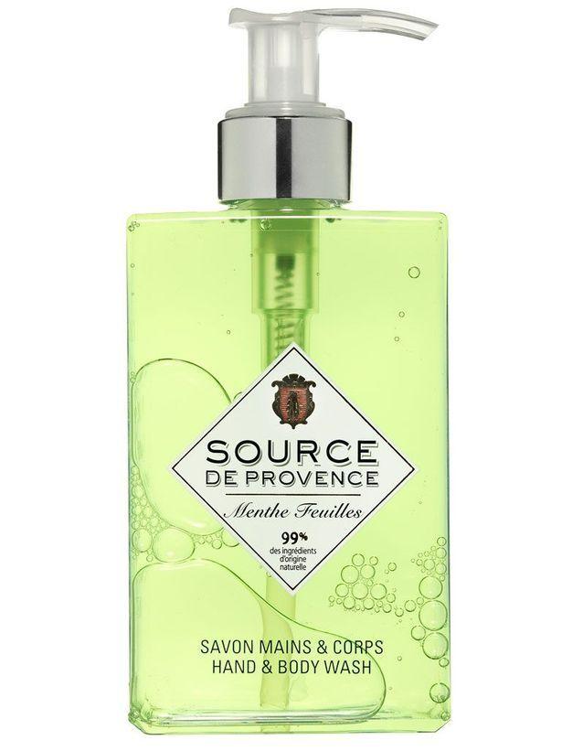 Savon Mains & corps Menthe feuilles, Source de Provence, 250 ml, 13,90 €.