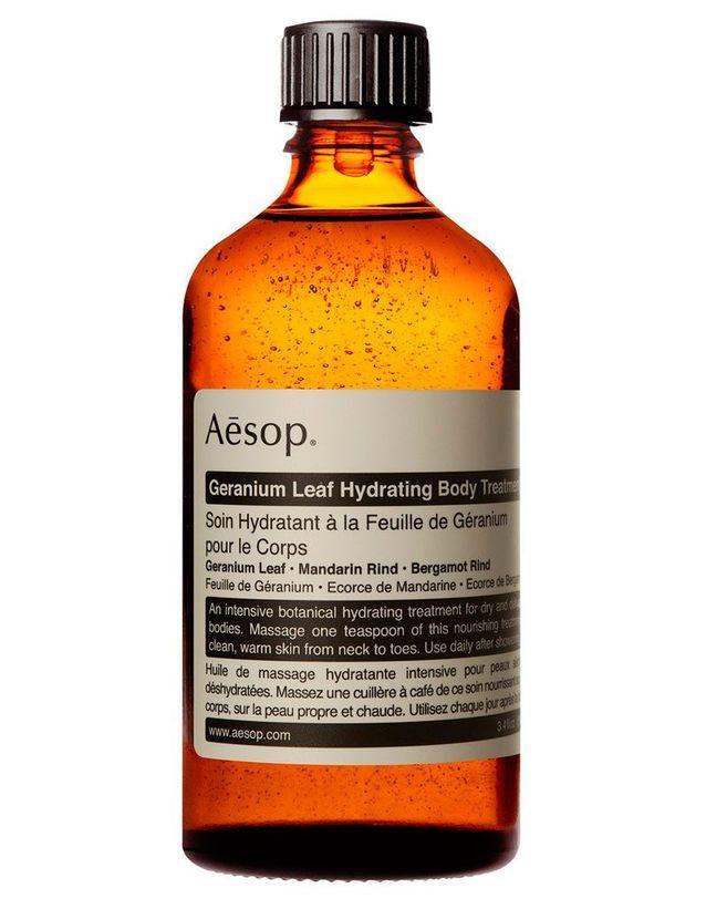 Huile de massage hydratante à la feuille de géranium pour le corps, Aesop