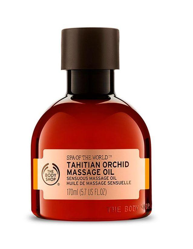Huile de massage sensuelle à l'orchidée de Tahiti, The Body Shop