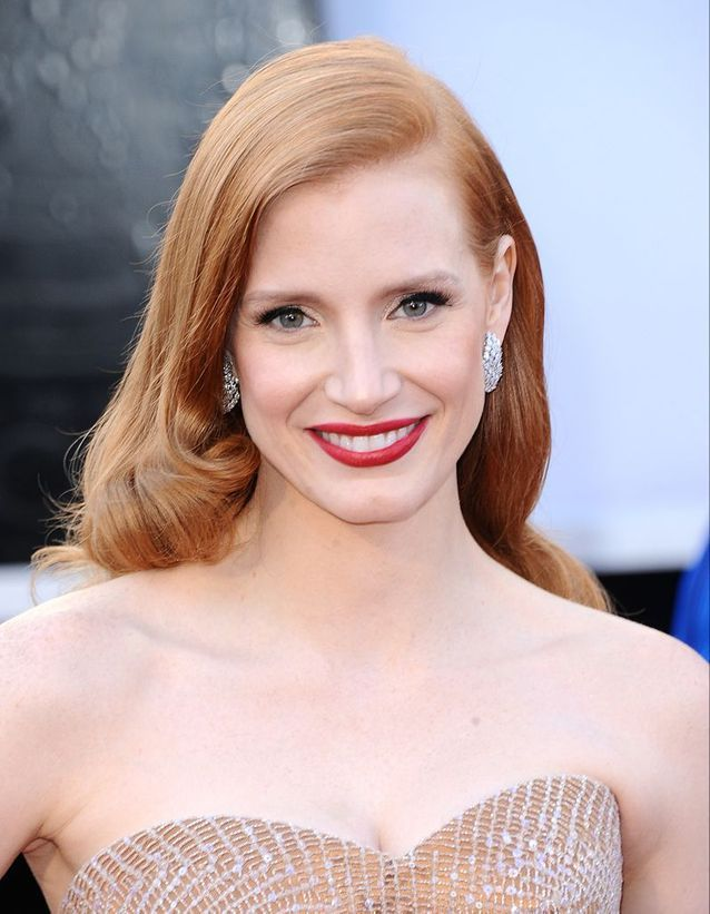 Le rouge glamour de Jessica Chastain