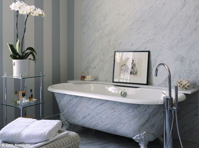 Une salle de bains en pierre... so chic ! - Elle Décoration