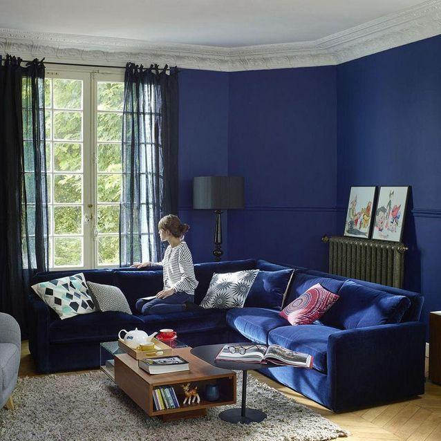 Canapé d'angle en velours bleu marine