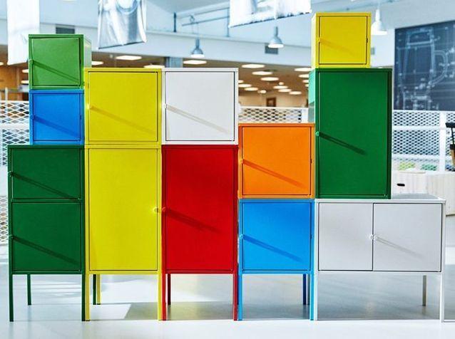 Nouveauté Ikea : meubles de rangement colorés LIXHULT