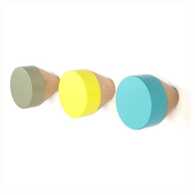 Patères design kaki, jaune et bleue