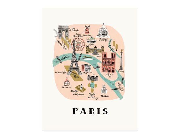 Une affiche colorée de Paris