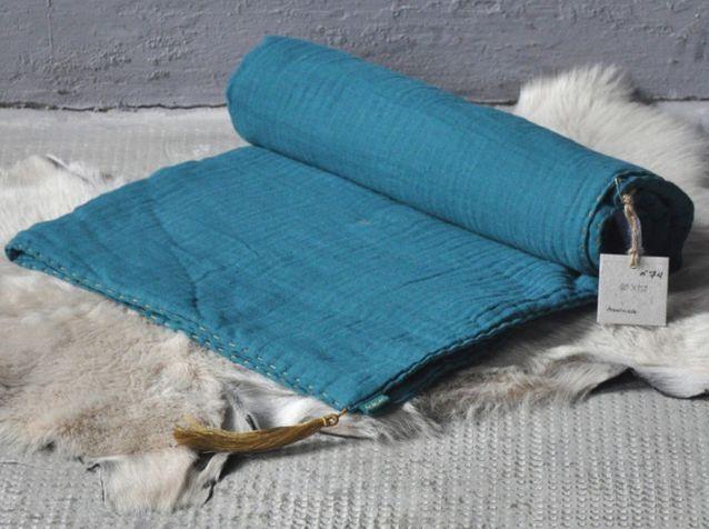 Couverture bebe gaze bleu canard