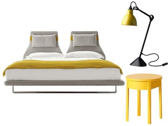 Chambre grise et jaune