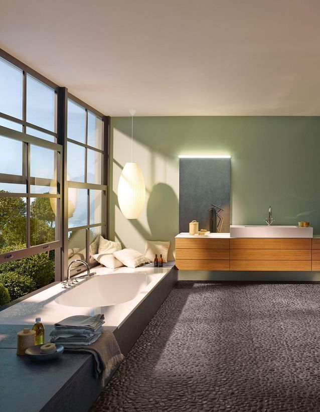 Penser au sol en galets pour une salle de bains zen