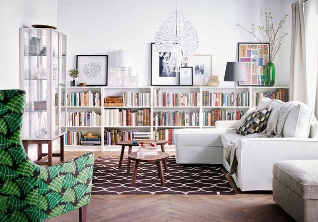 La bibliothèque Billy en version basse sur tout un mur