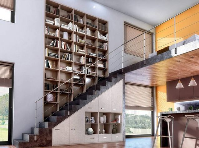 1 salon, 1 bibliothèque