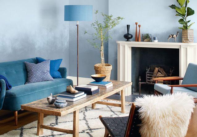Le Salon Bleu En Met Plein Les Yeux Elle Decoration