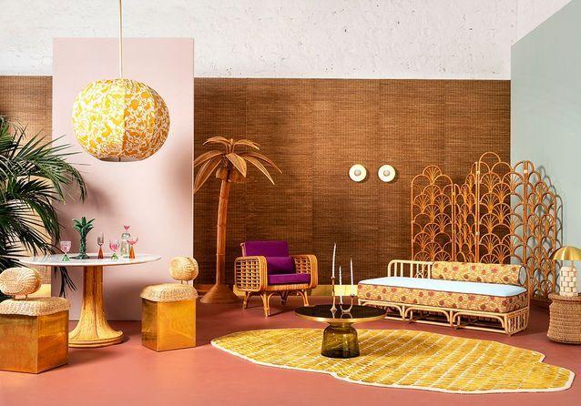 Seventies glam chic : 3 variations pour un salon d'été sous influence
