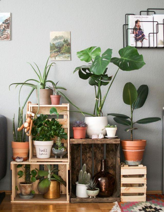 20 idées déco avec des cagettes en bois - Elle Décoration