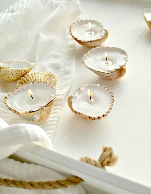 Récupérer des coquillages pour en faire des bougies