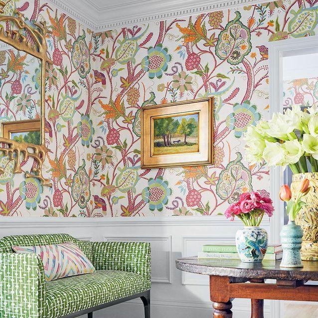 Papier peint fleuri Windsor Thibaut chez Au Fil des Couleurs