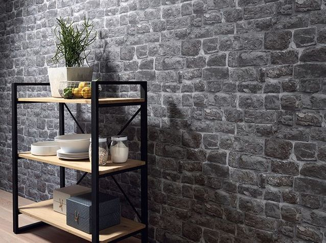 Papier peint effet mur de briques