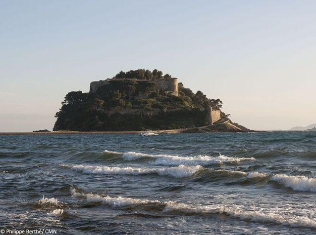 Le Fort de Brégançon vu de la plage de Cabasson