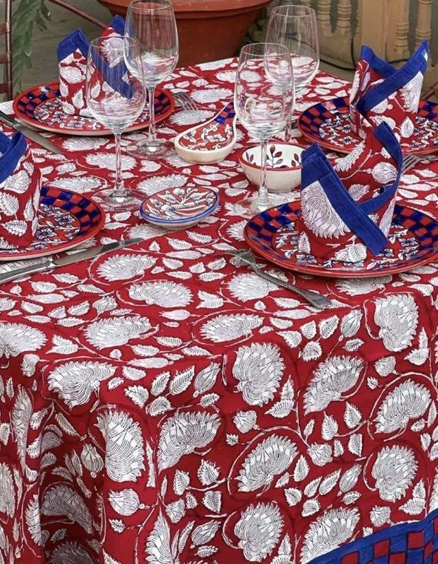 Serviettes indiennes rouge et blanche