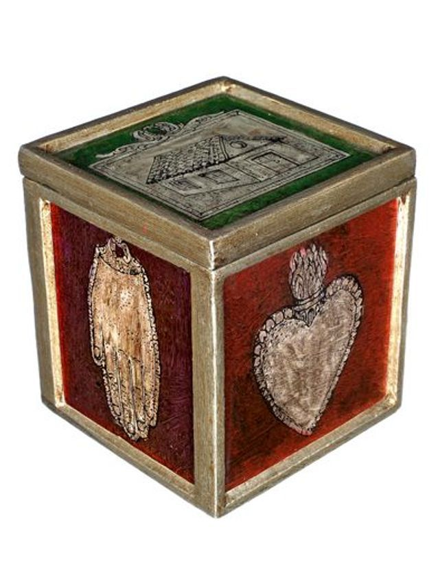 Boîte en verre  peint