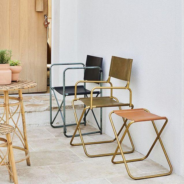 Chaise de camping en cuir
