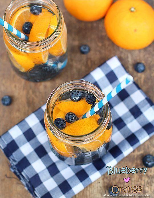 Eau détox myrtille orange