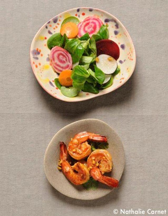 Gambas gingembre-soja, salade bonne mine
