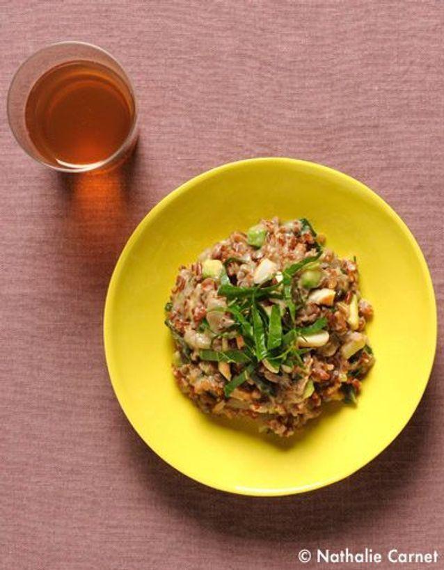 Risotto au riz rouge complet, blettes et amandes
