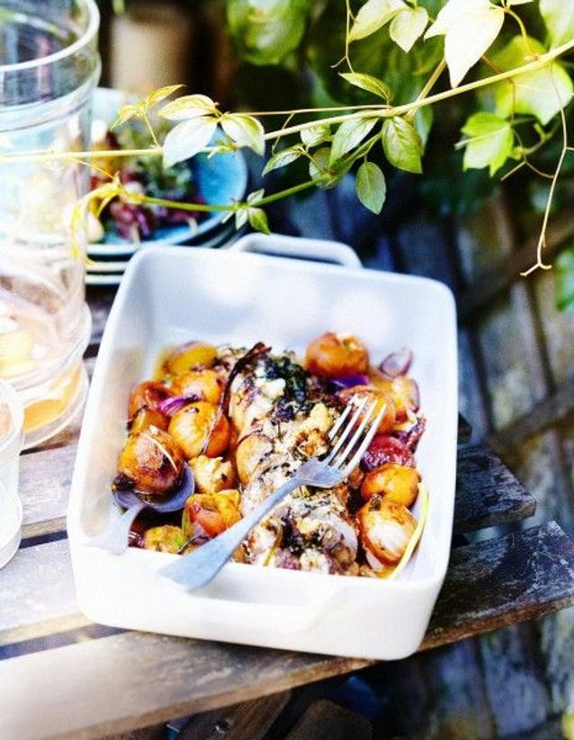 Cuisine recettes été grandes tablées : Filets mignons farcis aux olives et fruits rôtis au miel
