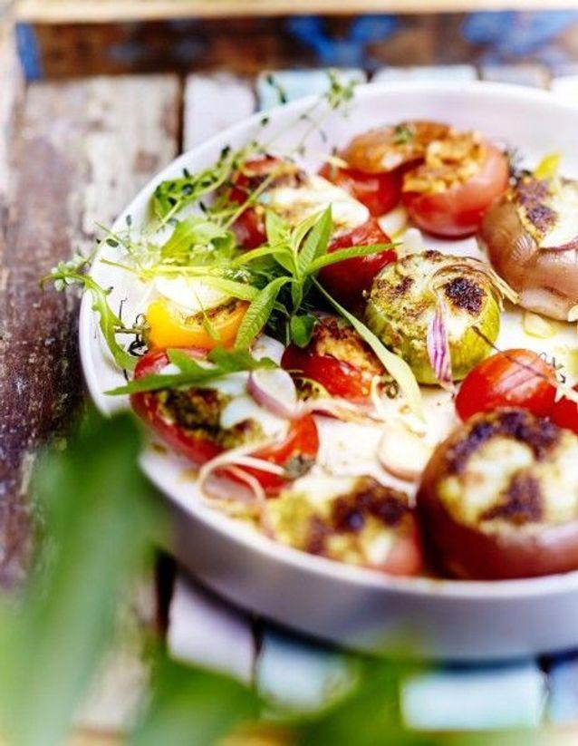 Cuisine recettes été grandes tablées : Légumes farcis mozzarella parmesan