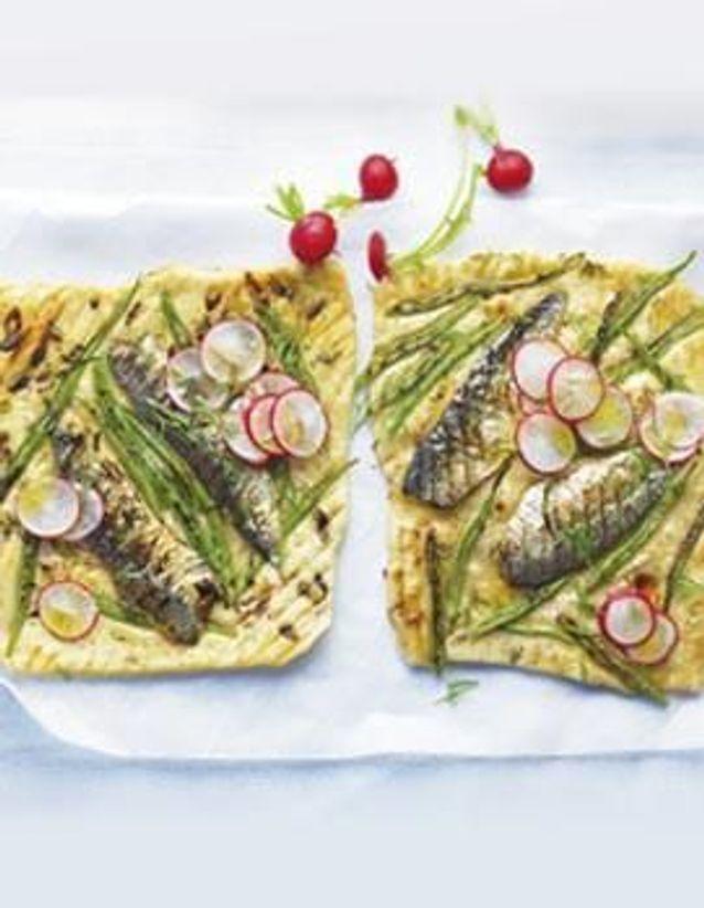 Cuisine recettes été grandes tablées : Petites pizzas aux sardines et haricots plats