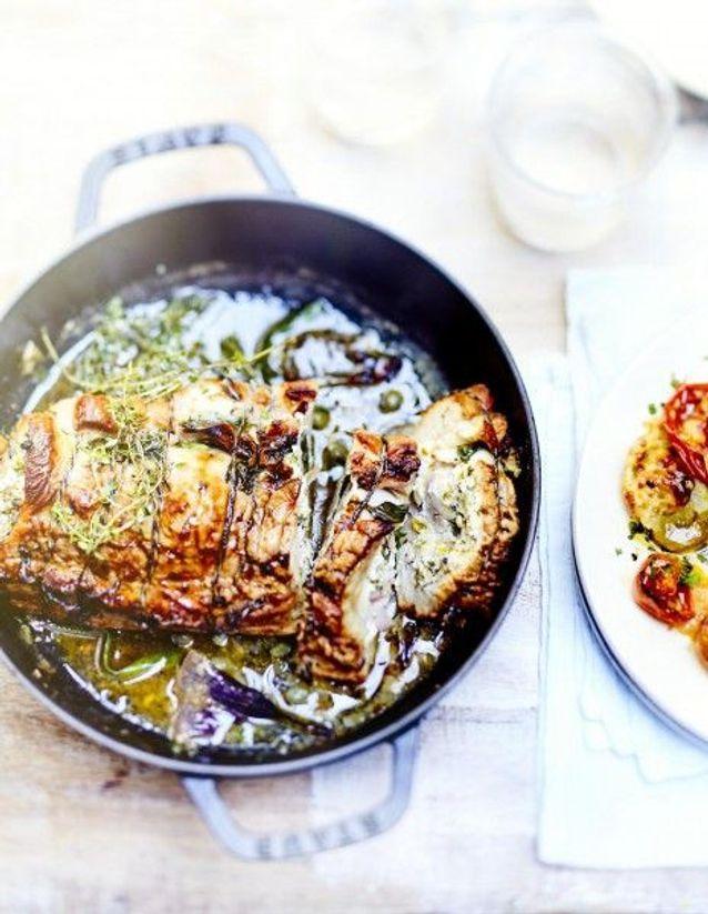 Cuisine recettes été grandes tablées : Poitrine de veau, feta et épinards, tomates mozza