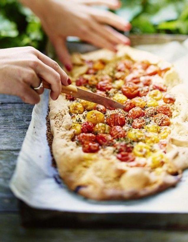Cuisine recettes été grandes tablées : Tarte chèvre et tomates-cerises