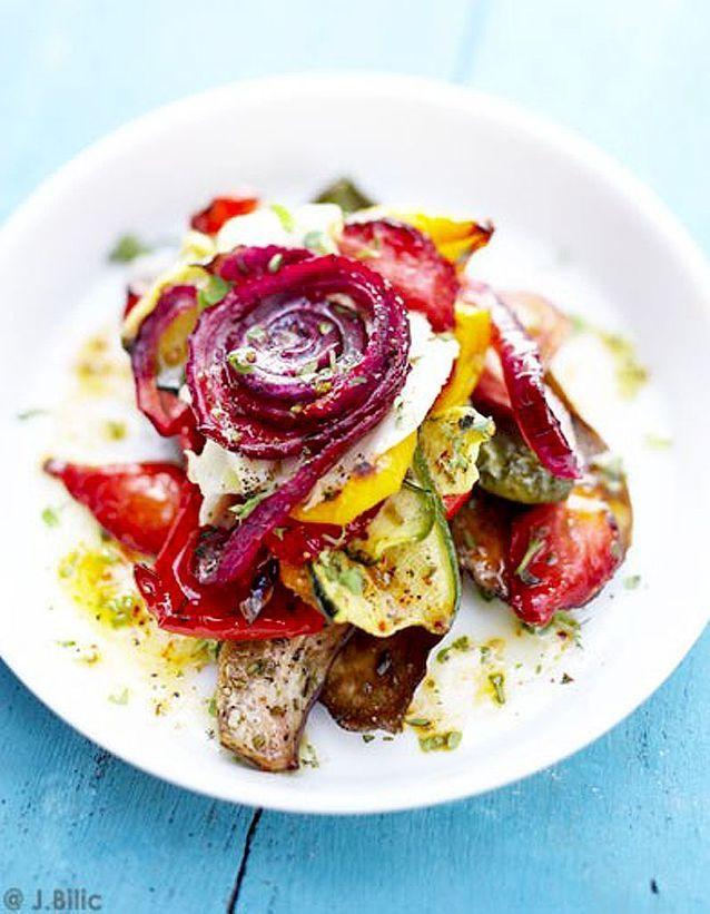 Légumes et fraises grillés
