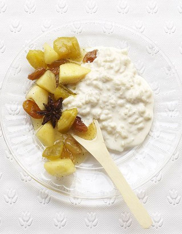 Riz au lait, chutney de pommes et de prunes