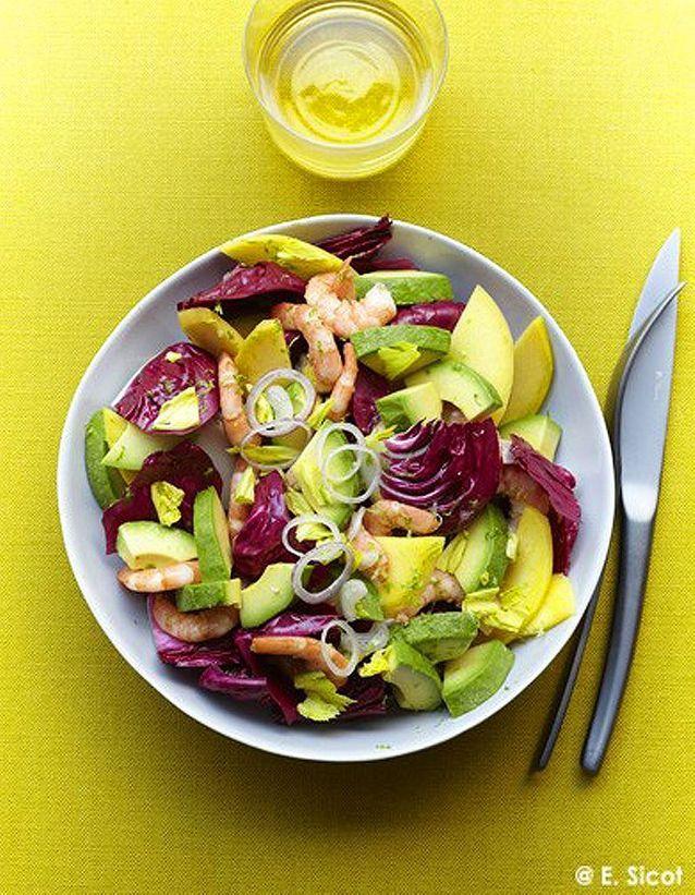 Salade avocat, mangue, trévise et crevettes