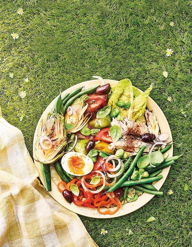 Salade niçoise au maquereau rôti