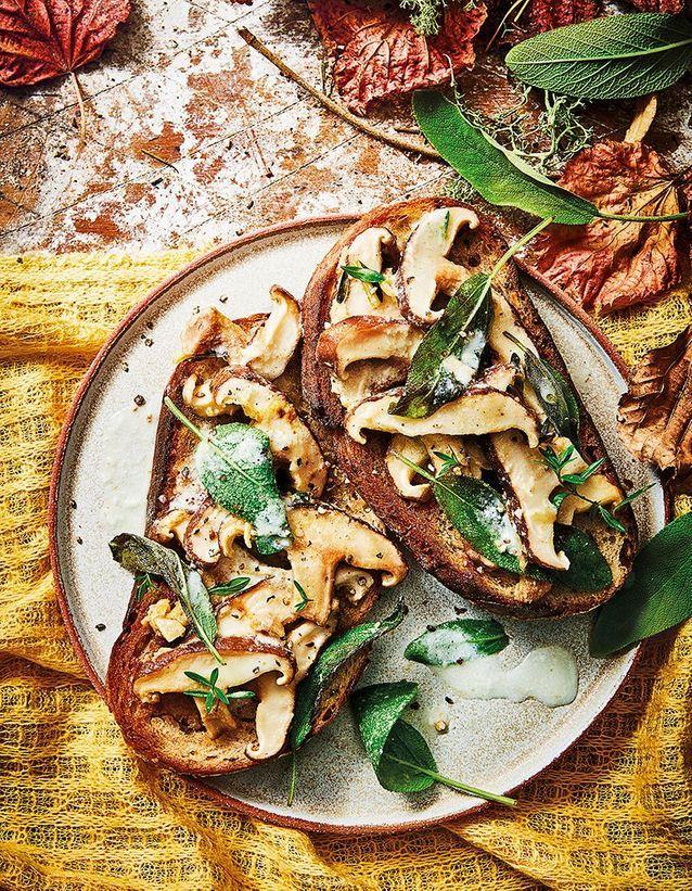Tartines à l'ail, shiitake à la crème de mozzarella, sauge, et thym