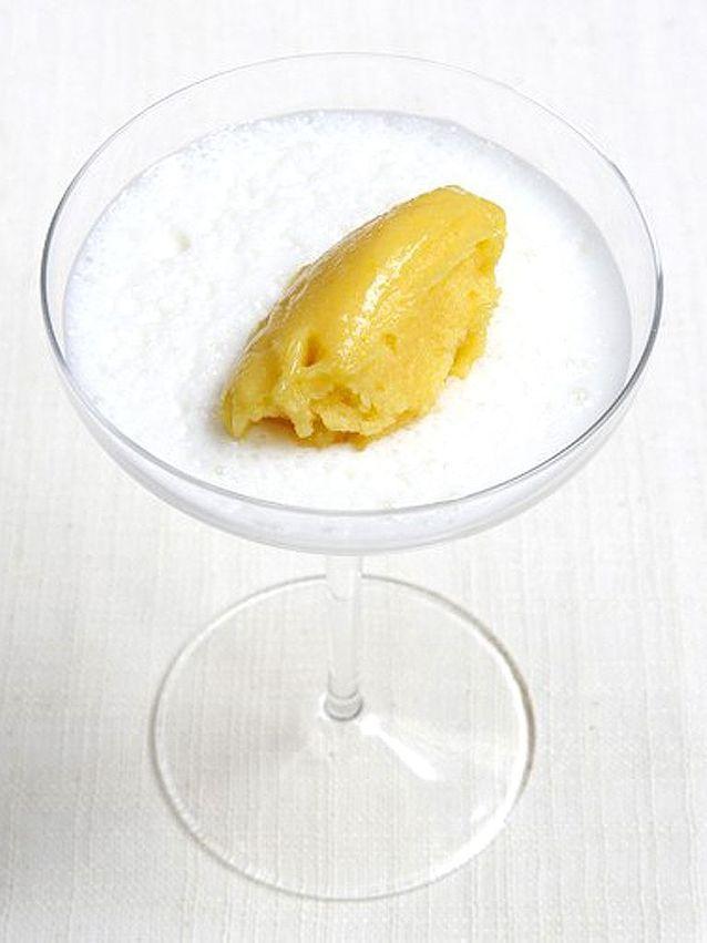 Creme de safran et sorbet orange