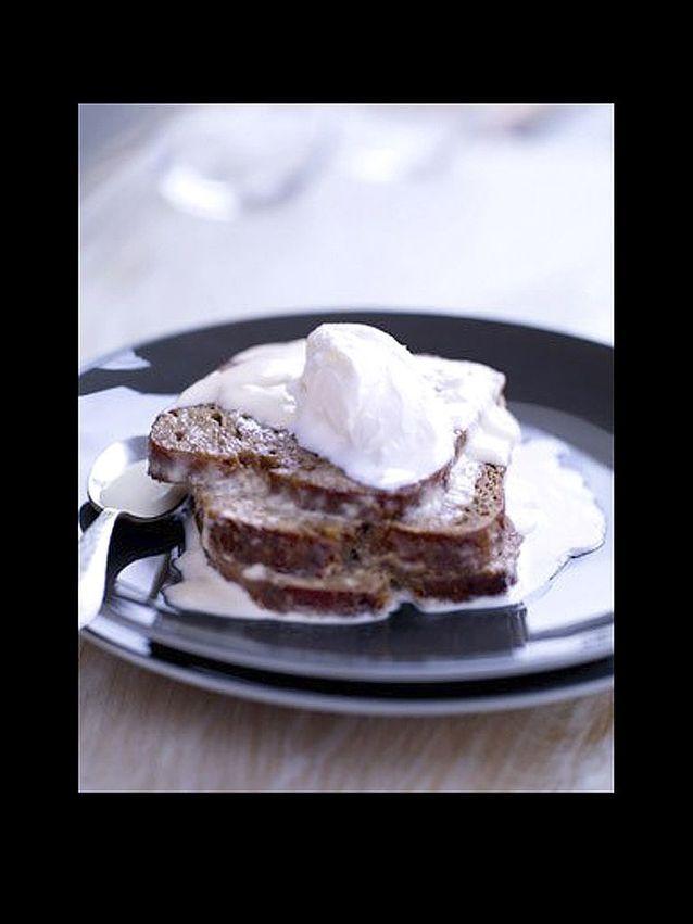Rye bread perdu lait au siphon sorbet yaourt