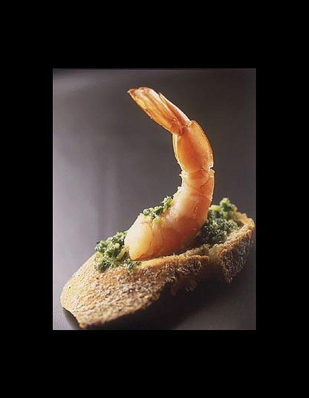 Tartines aux crevettes beurre d'escargot
