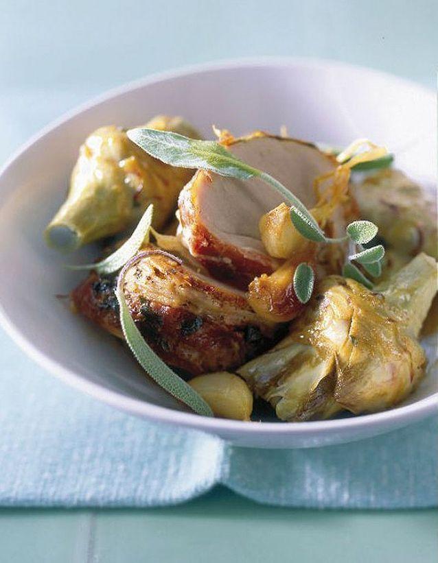 Filet mignon et artichauts rotis a la sauge
