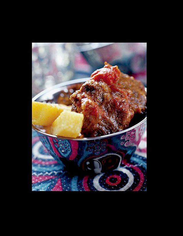 Goulash à la roumaine et frites de polenta